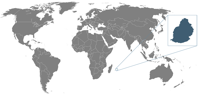 Weltkarte mit Mauritius im Fokus